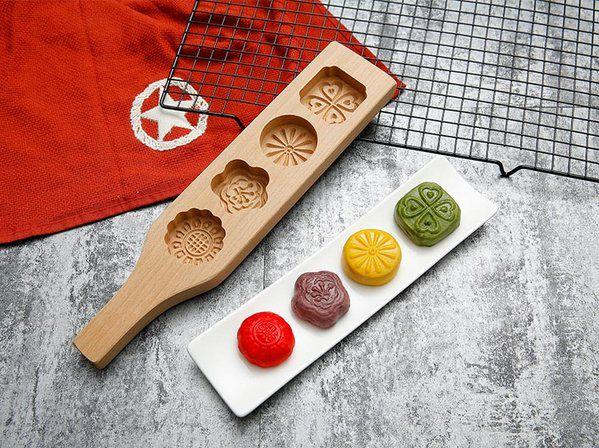 Các mẫu khuôn bánh trung thu làm bằng gỗ hình hoa